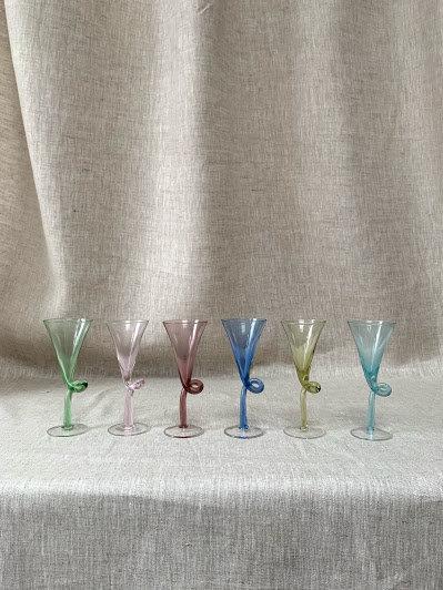 Set of Six Harlequin Twist Liqueur Glasses