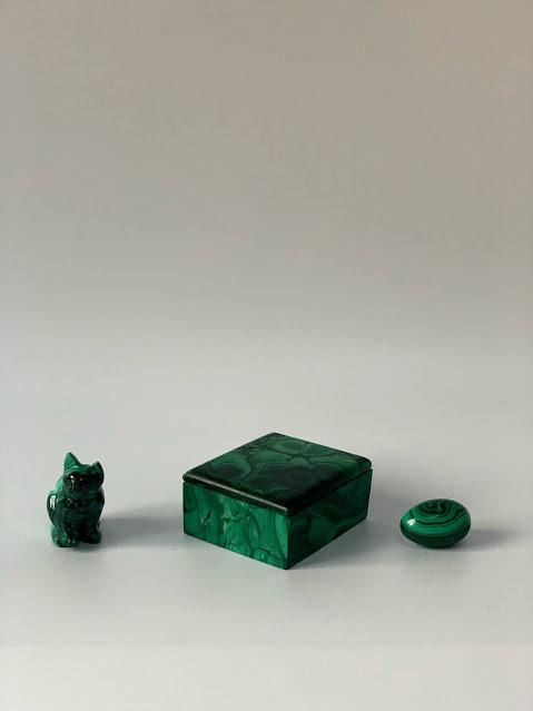 Set of Three Malachite Items, Box, Cat, Egg