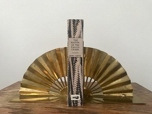 Pair Vintage Brass Fan Bookends