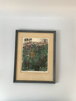 Mid Century Framed Woodcut by Fritz Grahn