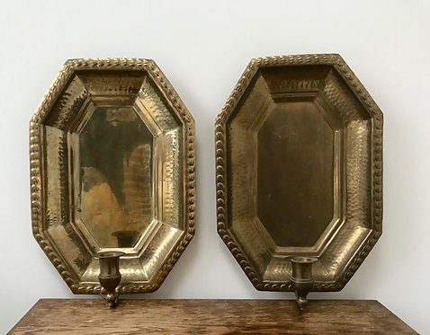 Two Vintage Hammered brass tray wall candle sconces