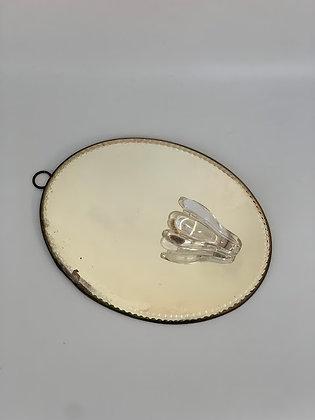 Victorian Bevelled Edge Mirror, Metal Back, Petal Glass Holder