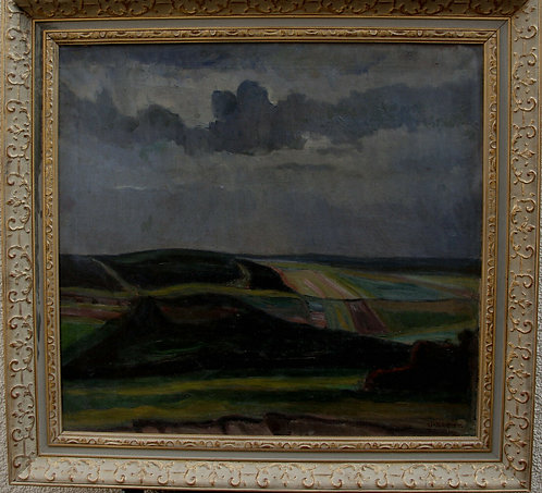Landscape, under a covered full moon, around 1950/60 by Valdemar Secher