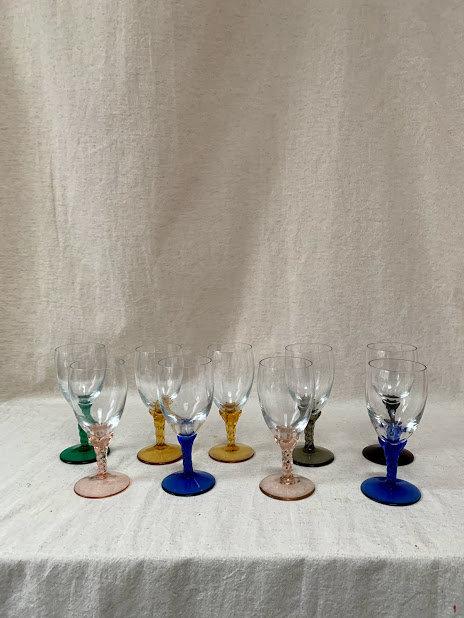 Harlequin Wine Glasses, Set of Eight