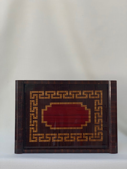 Wooden serving tray, inlay, 1950s