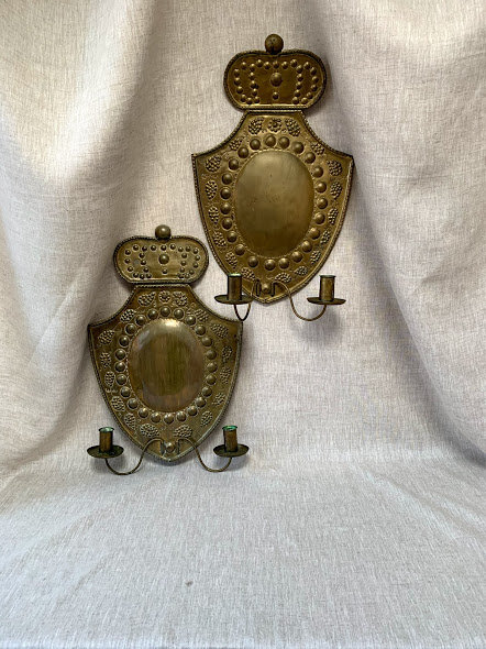 Pair of Swedish Brass Wall Sconce, late 19th Century
