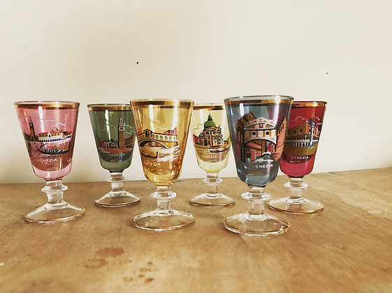 6x Vintage 50s 60s Kitsch Italian Coloured Sherry Glasses