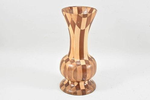 Checkered Wooden Vase