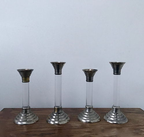 Set of Four Lucite and Brass candlesticks