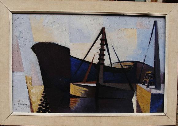 Framed Oil by Olle Lisper, Swedish, 1958