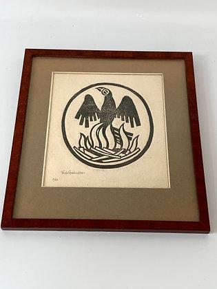 Framed Woodcut, Phoenix, by Fritz Grahn