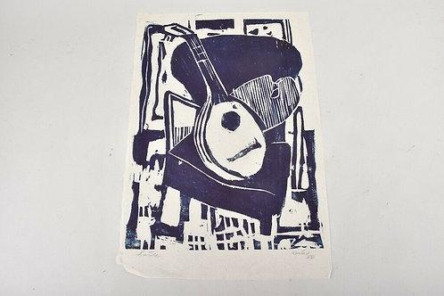 Woodcut, 'Lute', Gustav Grund, 1956