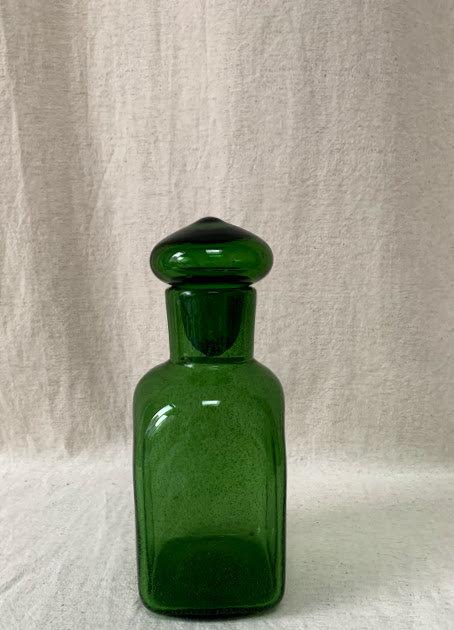 Vintage Green Glass Mouth Blown Bottle