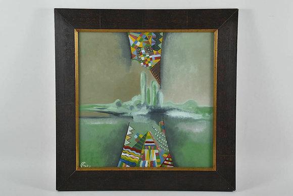 Framed Oil, City By The Sea by Gisela Erdmannsdörfer