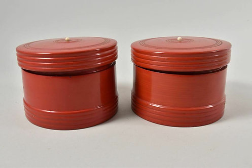 Pair of Red Lacquered Pots