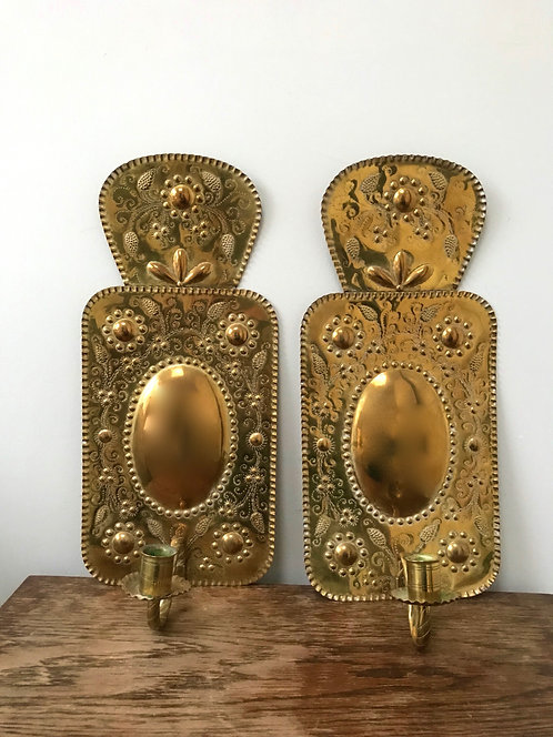 Pair of Dutch Brass Reflectors
