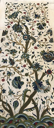 Antique Hand Embroidered Curtain Tree of Life Jacobean Style