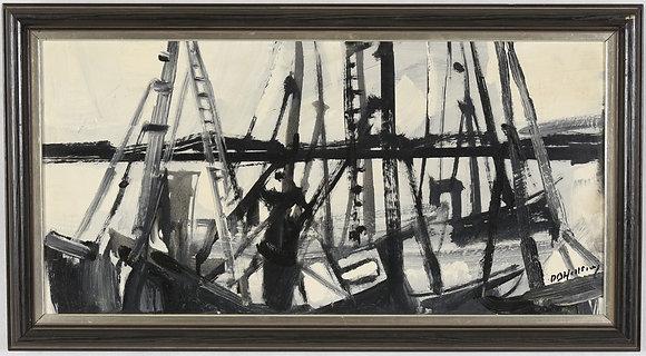 Framed Mid Century Oil, Boating Yard, Swedish