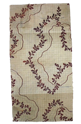 Beautiful Antique Hand Painted French Fabric Design - Dated 1852