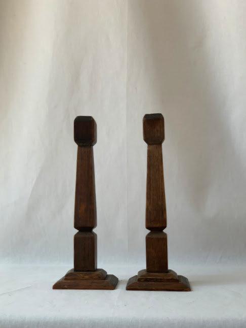 Pair of Wooden Candlesticks