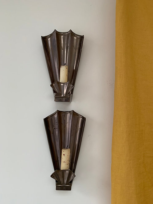 Pair of Vintage Brass Fan Sconces