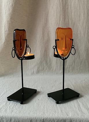Mid Century Art Glass Candlesticks