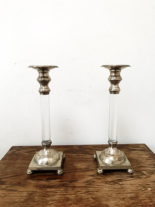 Pair of Silver Pleated & Lucite Candlesticks