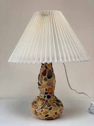 Vintage Handmade Shell Lamp, Converted Bottle