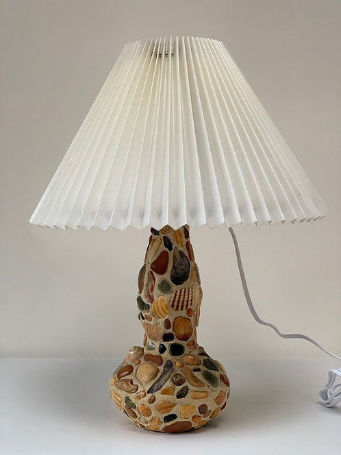 Vintage Handmade Shell Lamp, Converted Bottle