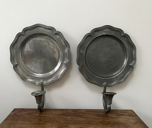 Two Vintage Colonial Pewter Sconces