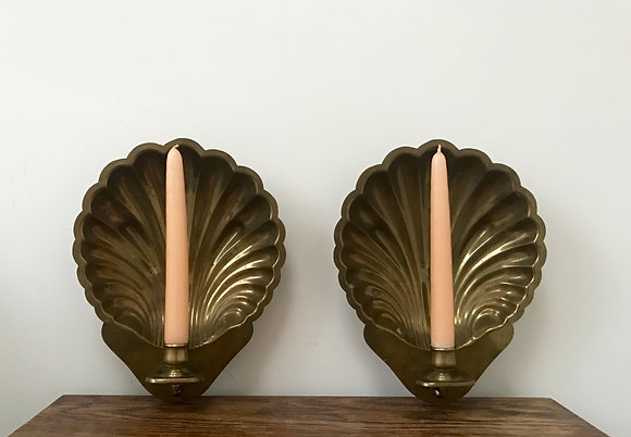 Pair of Brass Shell Sconces