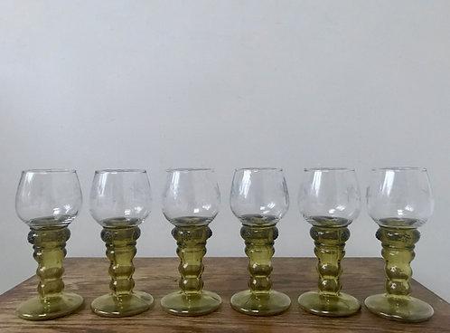 Set of Six Vintage German Roemer Wine Glasses