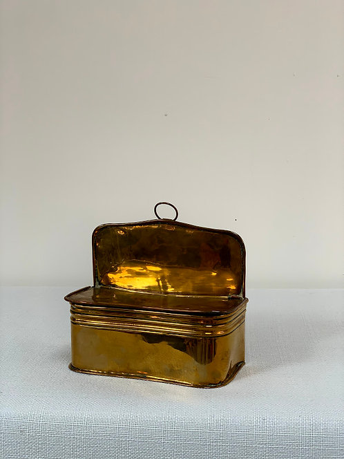 Antique Brass Lidded Candle Box.