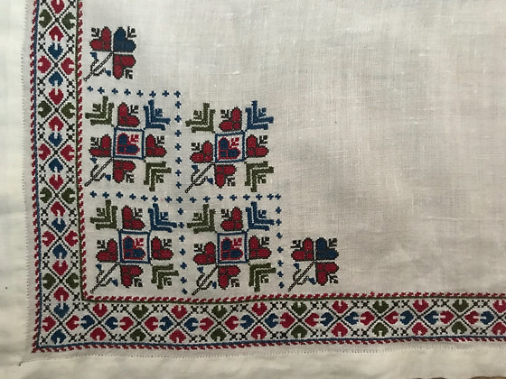 Vintage French Hand Stitched Table Cloth