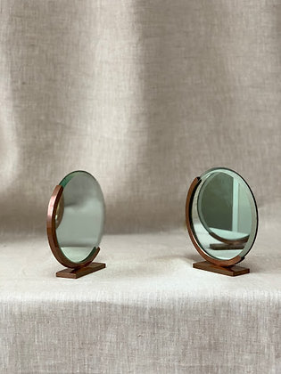 Pair of 1930s Copper Table Top Mirrors