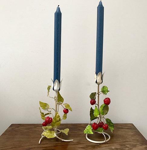 Pair Vintage Tole Toleware Candlesticks