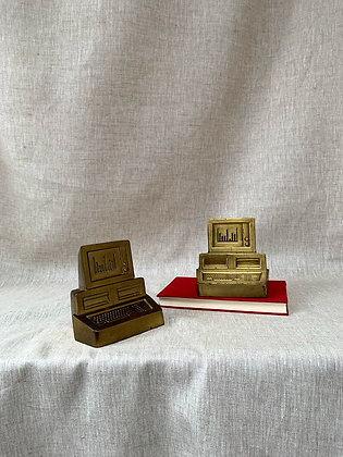 1980s Brass Computer Bookends