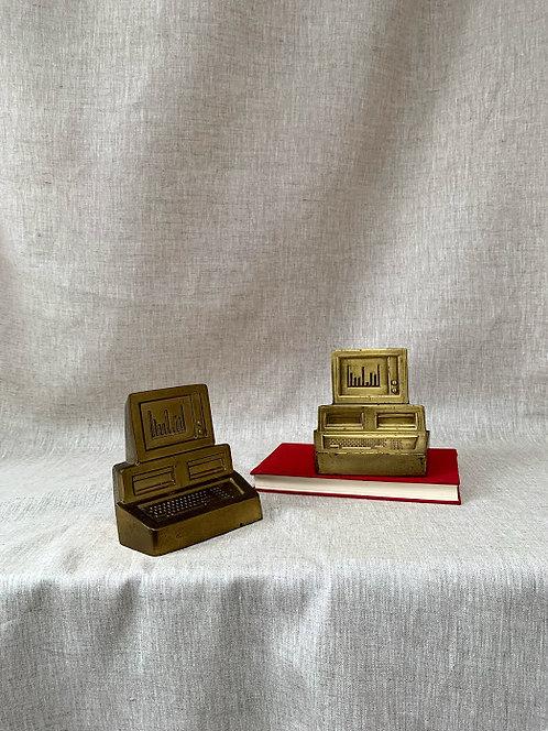 1980s Brass Computer Bookends