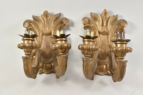 Pair of Carved Wooden Sconces, 19th Century, German