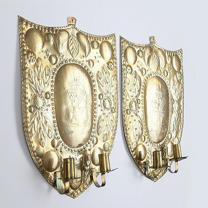 Pair of Swedish Brass Sconces, dating 1645, 19th Century