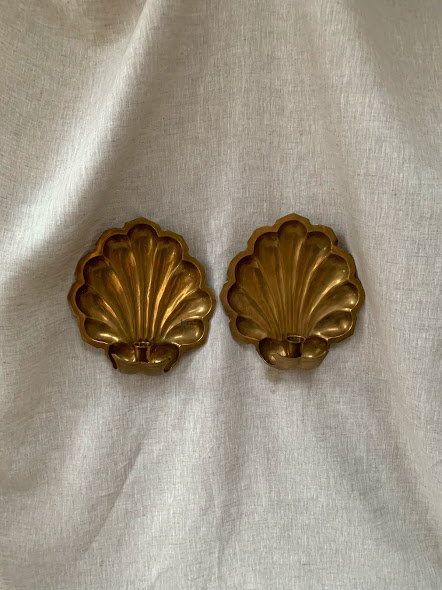 Pair of Large Brass Shell Sconce