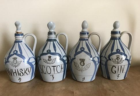 Set of Four Buchan Portobello Pottery Stoneware Decanter