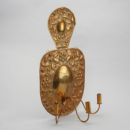 19th Century Swedish Brass Sconce - Repousse Decoration