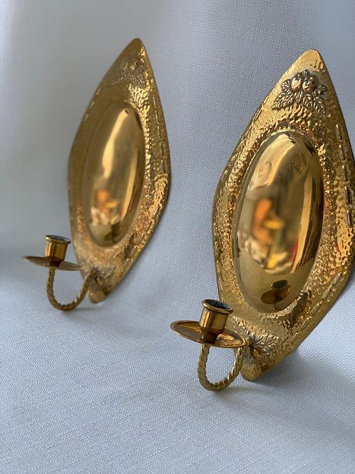Pair of Swedish Brass Sconces, 20th Century