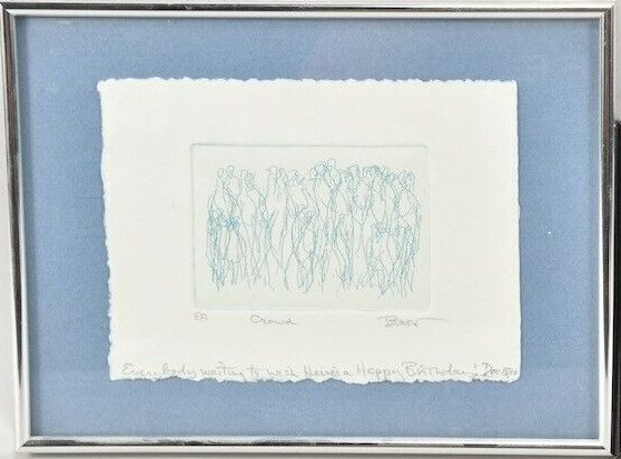 Framed Etching, 'Crowd'