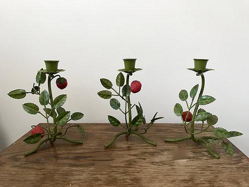 Strawberry Tole Candlesticks