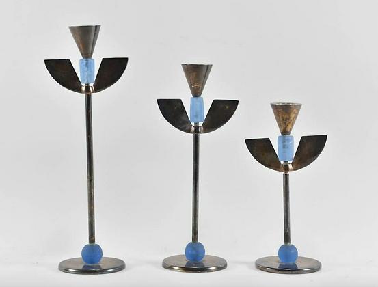 Set of Three Plated Candlesticks