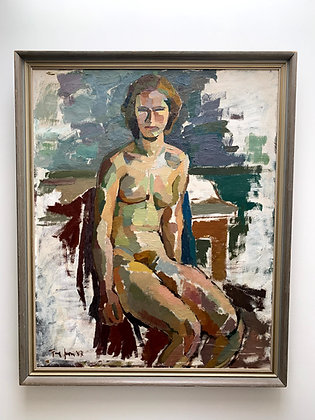 Agne Johansson 1921-1987, Seated Female Nude, dated 1947