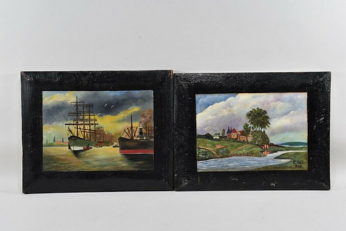 Pair of Paintings, Signed, Dated 1947