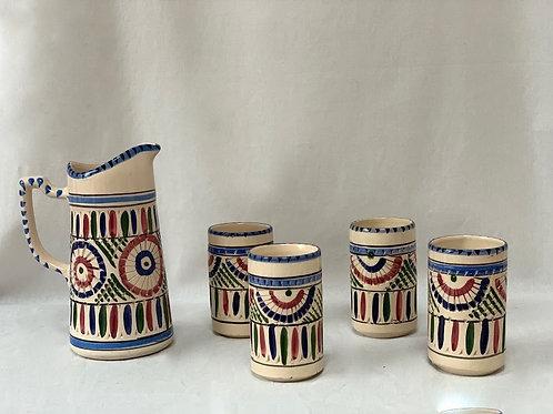 Vintage Ceramic Jug with Four Beakers